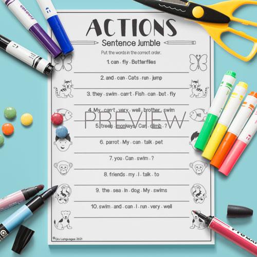 ESL English Actions Sentence Jumble Activity Worksheet