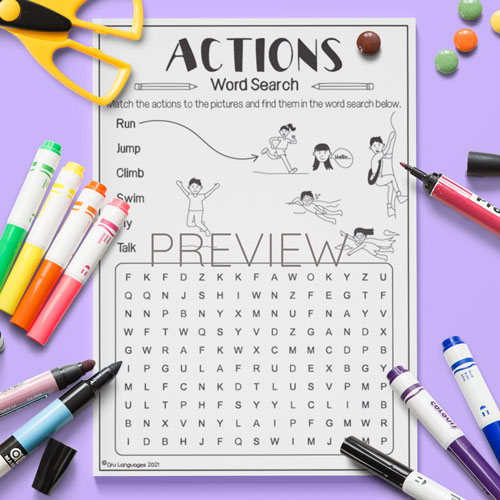 ESL English Actions Word Search Activity Worksheet