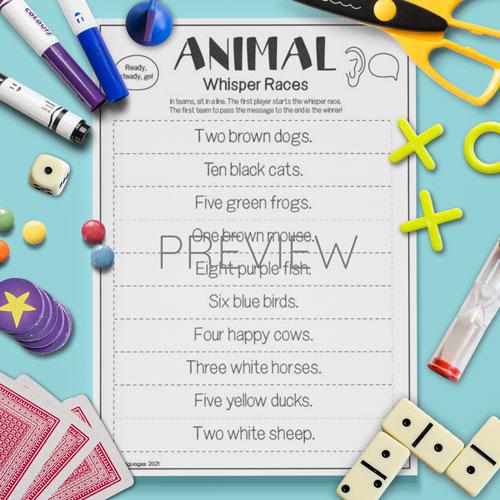 ESL English Animal Whisper Race Game Activity Worksheet