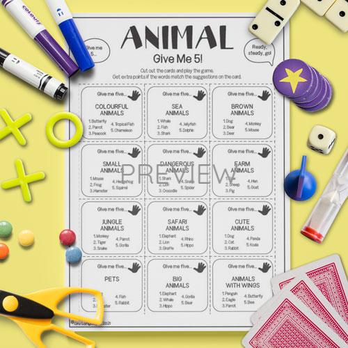 ESL English Animals Give Me Five Game Activity Worksheet