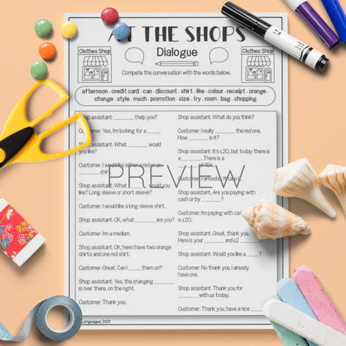 ESL English At The Shops Dialogue Activity Worksheet