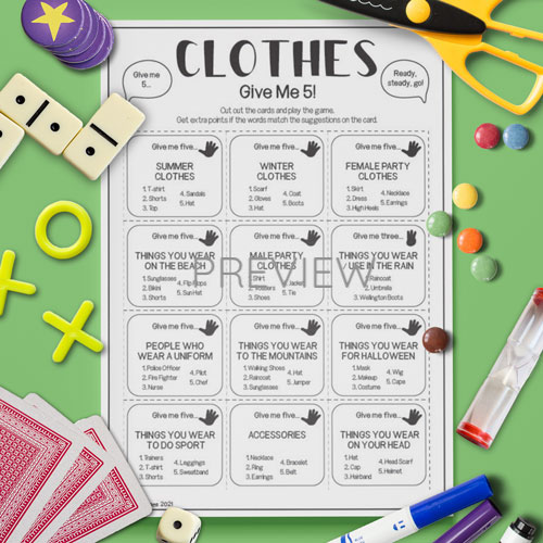 ESL English Clothes Give Me Five Game Activity Worksheet