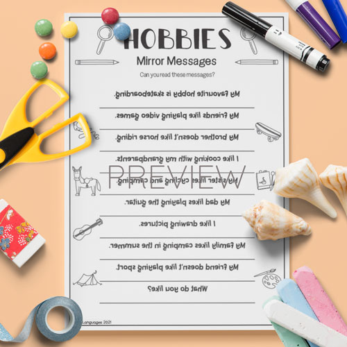 ESL English Hobbies Mirror Messages Activity Worksheet