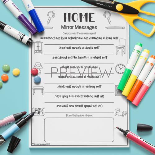 ESL English Home Mirror Messages Activity Worksheet