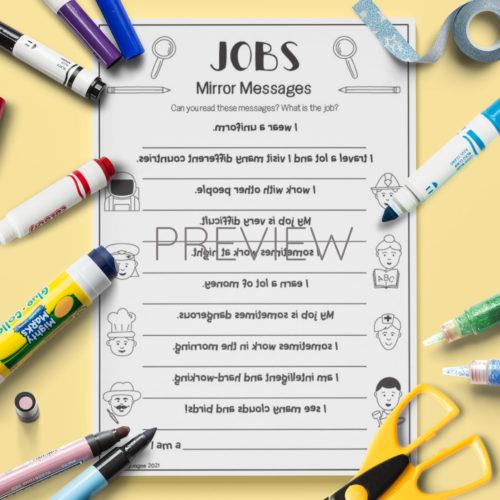 ESL English Jobs Mirror Messages Activity Worksheet