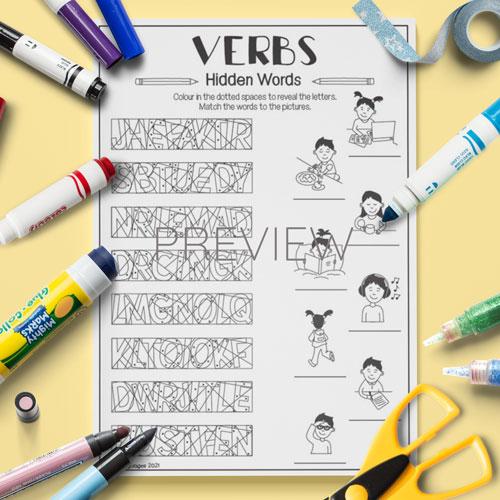 ESL English Verbs Hidden Words Activity Worksheet