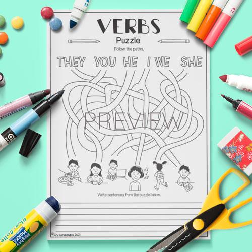ESL English Verbs Puzzle Activity Worksheet