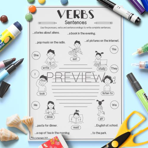 ESL English Verbs Sentences Activity Worksheet