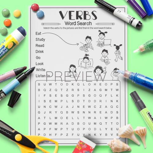 ESL English Verbs Word Search Activity Worksheet