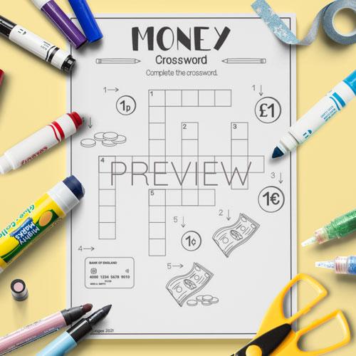 ESL English Money Crossword Activity Worksheet