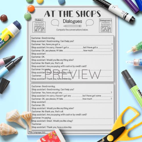 ESL English Shopping Dialogues Activity Worksheet