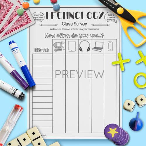 ESL English Technology Classroom Survey Activity Worksheet