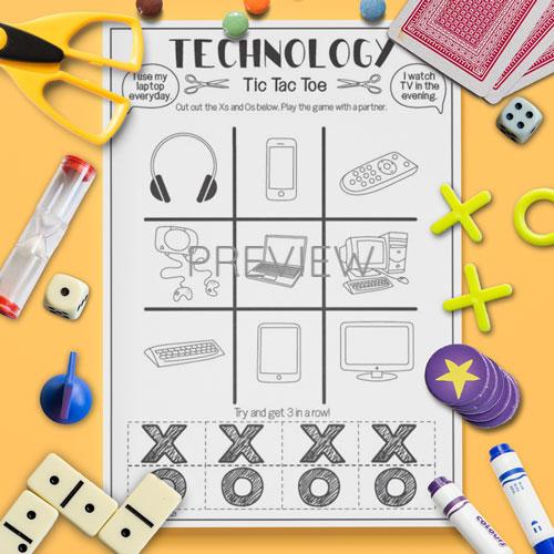 ESL English Technology Tic Tac Toe Game Activity Worksheet