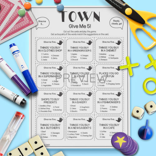 ESL English Town Give Me Five Game Activity Worksheet