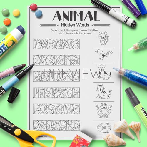 ESL English Animal Hidden Words Activity Worksheet