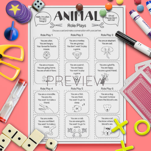 ESL English Animal Role Plays Activity Worksheet