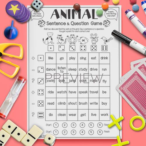 ESL English Animal Sentence Game Activity Worksheet