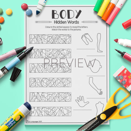 ESL English Body Hidden Words Activity Worksheet