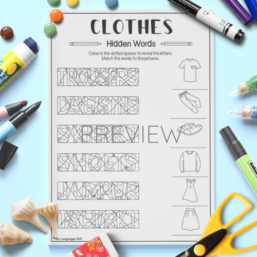 ESL English Clothes Hidden Words Activity Worksheet
