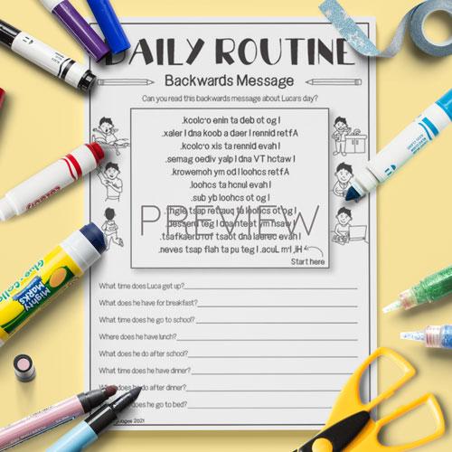 ESL English Daily Routine Backwards Messages  Activity Worksheet