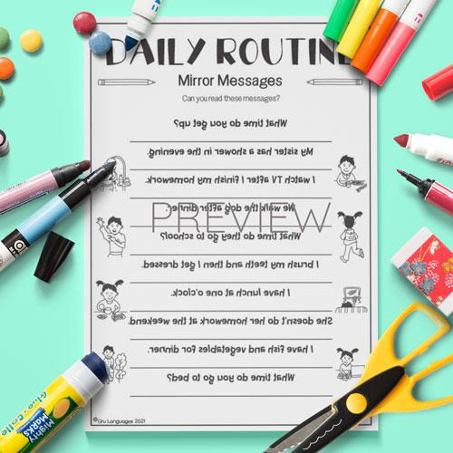 ESL English Daily Routine Mirror Messages Activity Worksheet