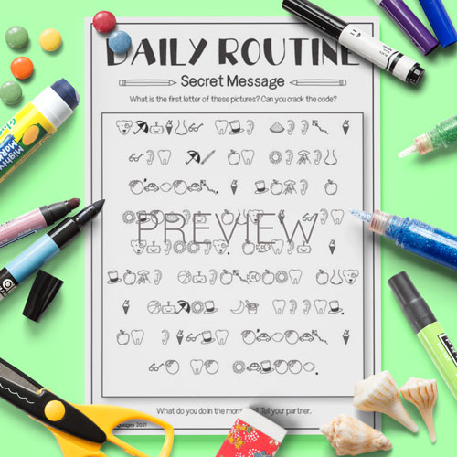 ESL English Daily Routine Secret Messages Activity Worksheet