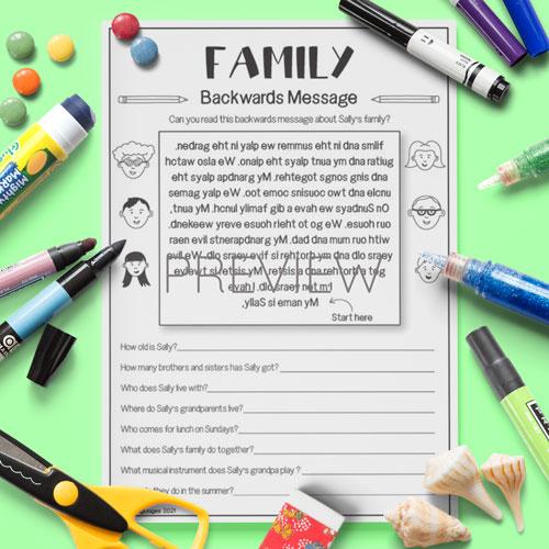 ESL English Family Backwards Messages  Activity Worksheet