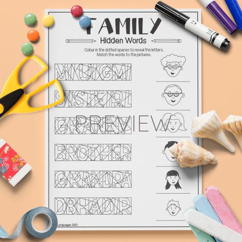 ESL English Family Hidden Words Activity Worksheet