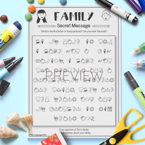 ESL English Family Secret Messages Activity Worksheet