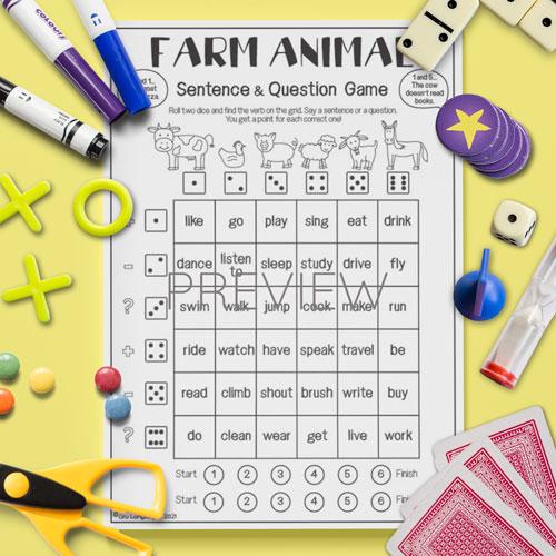 ESL English Farm Animal Sentence Game Activity Worksheet