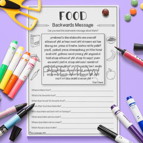 ESL English Food Backwards Messages  Activity Worksheet