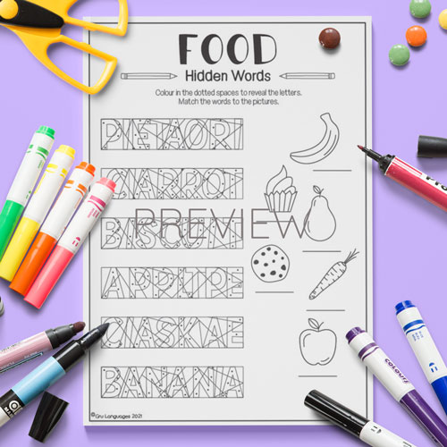 ESL English Food Hidden Words Activity Worksheet