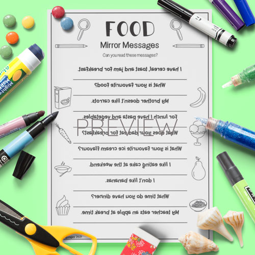 ESL English Food Mirror Messages Activity Worksheet