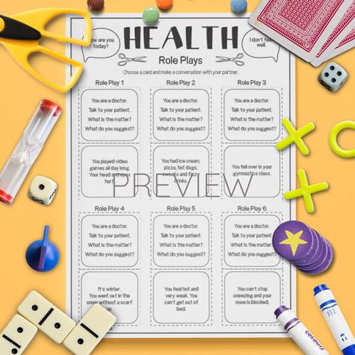 ESL English Health Role Plays Activity Worksheet
