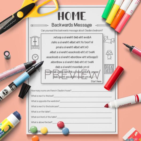 ESL English Home Backwards Messages  Activity Worksheet
