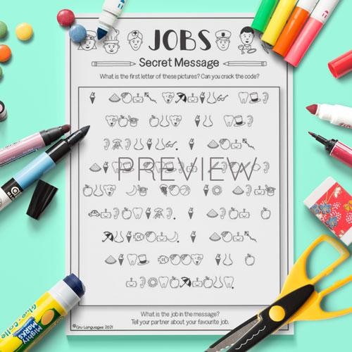 ESL English Jobs Secret Messages Activity Worksheet