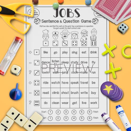 ESL English Jobs Sentence Game Activity Worksheet