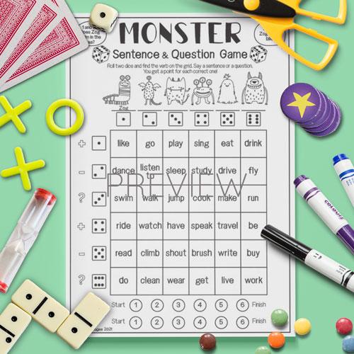 ESL English Monster Sentence Game Activity Worksheet