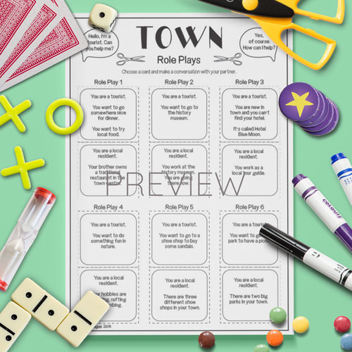 ESL English Town Role Plays Activity Worksheet