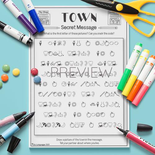 ESL English Town Secret Messages Activity Worksheet