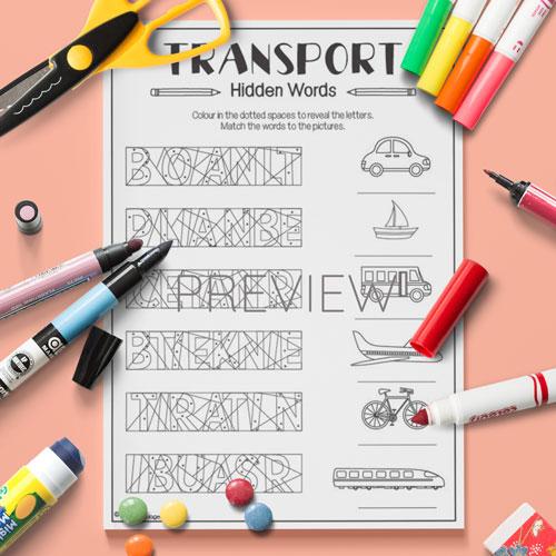 ESL English Transport Hidden Words Activity Worksheet