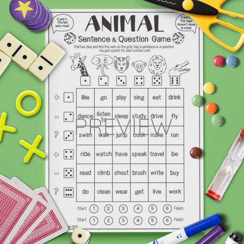 ESL English Wild Animal Sentence Game Activity Worksheet