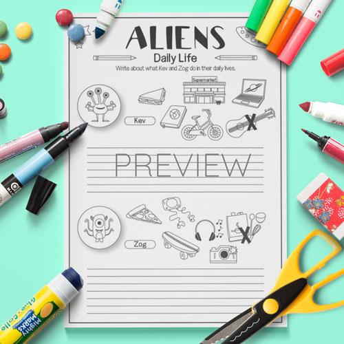 ESL Kids Alien Daily Routine Writing Activity Worksheet