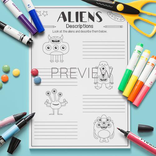 ESL English Alien Descriptions Writing Activity Worksheet