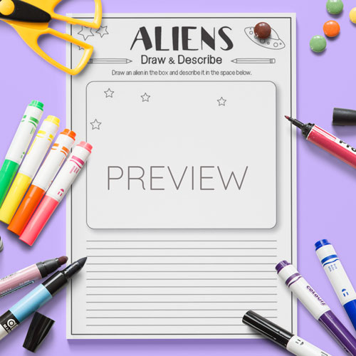 ESL English Aliens Draw And Describe Activity Worksheet