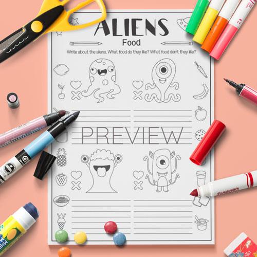 ESL English Aliens Food Activity Worksheet