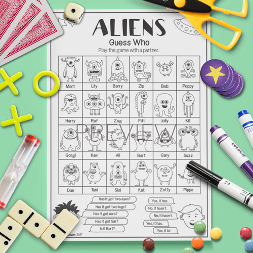 ESL English Aliens Guess Who Game Worksheet