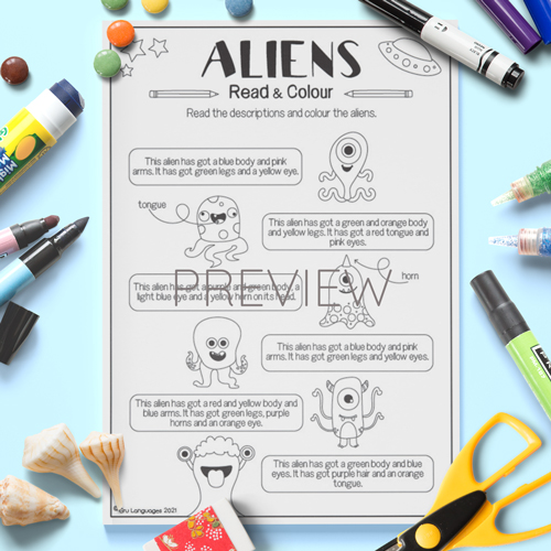 ESL English Kids Aliens Read And Colour Worksheet