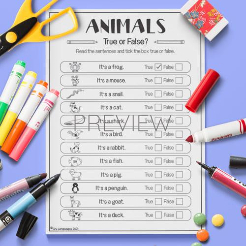 ESL English Animals True False Quiz Activity Worksheet
