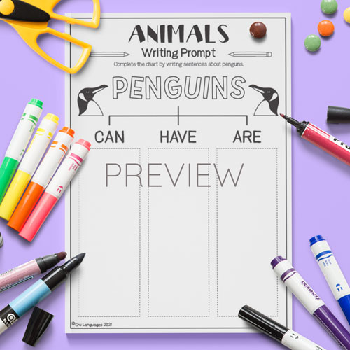 ESL English Penguins Can Have Are Activity Worksheet
